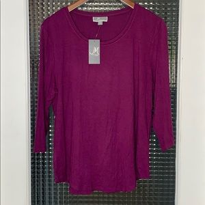 NEW JM Collection Scoop-neck Long Sleeve T-shirt